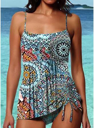 Print Strap U-Neck Boho Tankinis Swimsuits