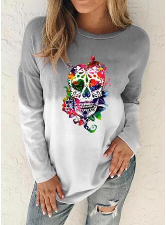 Halloween Print Gradient Round Neck Long Sleeves Sweatshirt