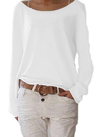 Couleur Unie Col Bateau Manches Longues Décontractée Basique Tricotage T-shirts