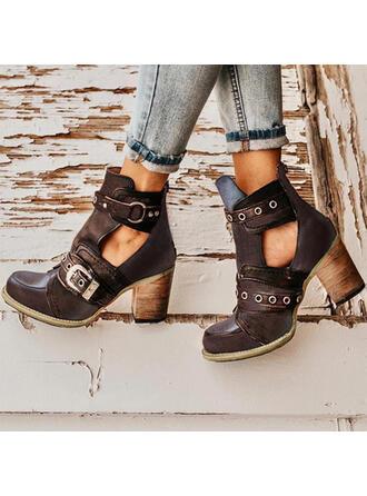 Femmes PU Talon bottier Escarpins Bout fermé Bottes Martin bottes avec Rivet Boucle chaussures