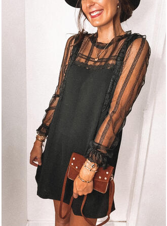Dentelle/Couleur Unie Manches Longues Droite Au-dessus Du Genou Petites Robes Noires/Décontractée Robes