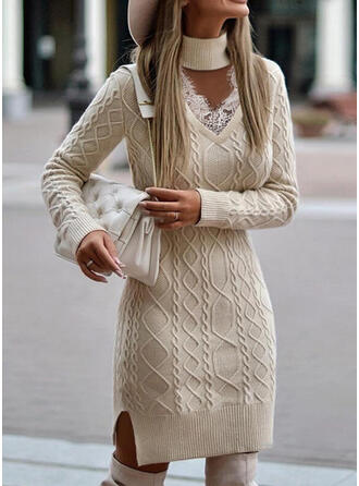 Solid Lace Long Sleeves Sheath Above Knee Casual Sweater Dresses