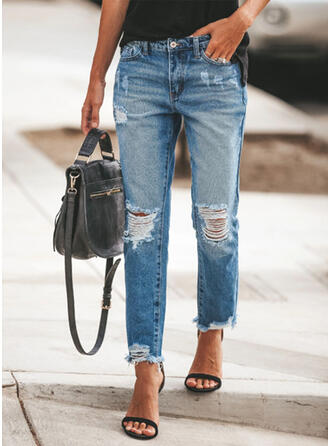 Froncé Grande taille Déchiré Longue Élégante Plaine Pantalon Jeans