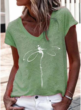 Print Letter Animal V-Neck Short Sleeves T-shirts