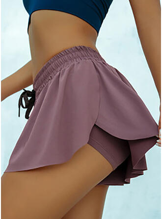 Solid Above Knee Sexy Sporty Drawstring Pants Shorts