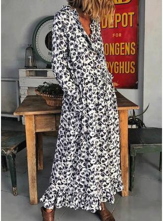Imprimée Manches Longues Droite Décontractée Maxi Robes