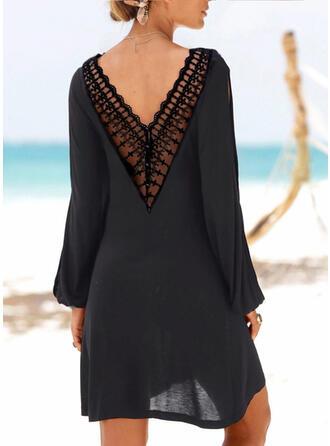 Dentelle/Couleur Unie/Dos nu Manches Longues Droite Au-dessus Du Genou Petites Robes Noires/Décontractée/Vacances Tunique Robes