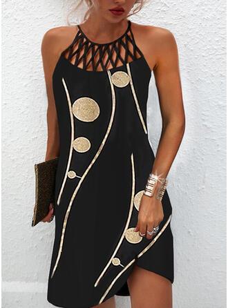 Print Sleeveless Shift Above Knee Elegant Dresses