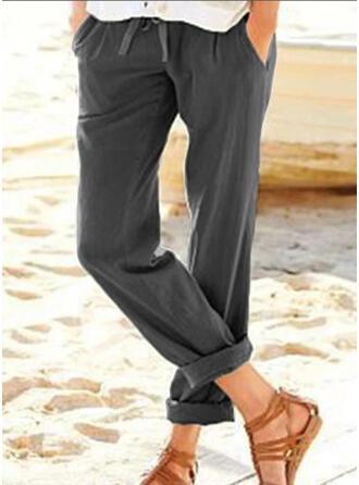 Les poches Grande taille Cordon Tondu Décontractée Élégante Pantalon