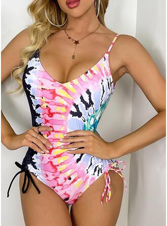 Print V-Neck Novelty One-piece Swimsuits