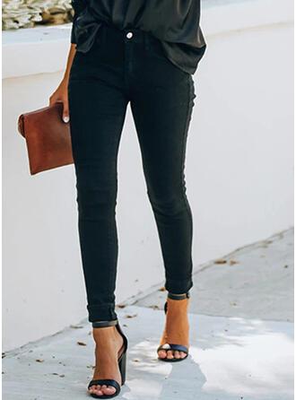 Couleur Unie Froncé Grande taille Longue Élégante Sexy Maigre Jeans