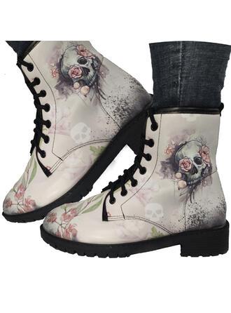 Femmes PU Talon bas Bottes Martin bottes avec Broderie chaussures