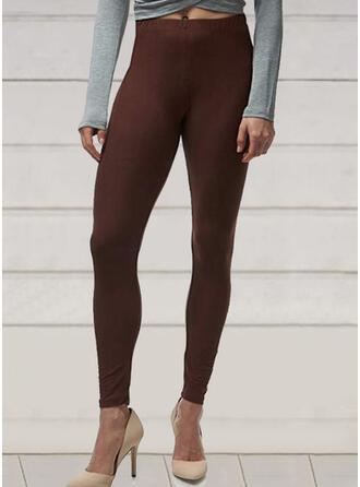 Couleur Unie Grande taille Longue Élégante Sexy Yoga leggings