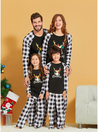 Renne Plaid Letter Tenue Familiale Assortie Pyjama De Noël