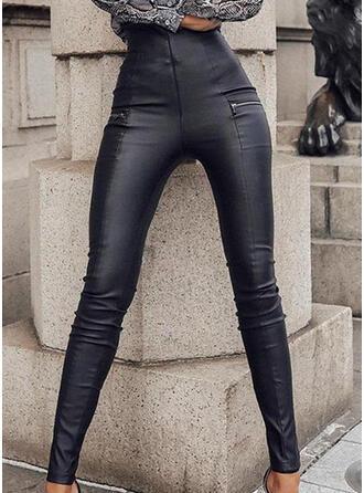 Couleur Unie Patchwork Longue Sexy Maigre Cuir Pantalon