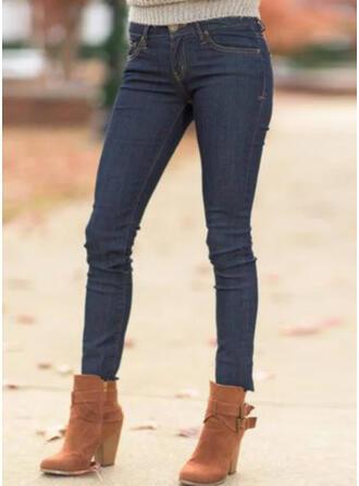 Couleur Unie Froncé Grande taille Décontractée Sexy Jeans