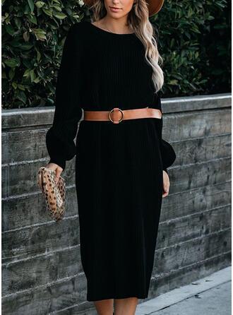 Couleur Unie Manches Longues Fourreau Pull Petites Robes Noires/Décontractée Midi Robes