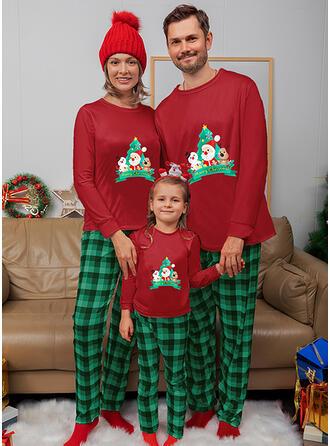 Santa Reindeer Plaid Family Matching Christmas Pajamas