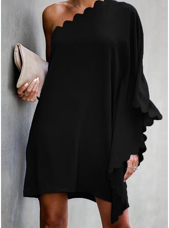 Couleur Unie Manches Longues/Manches Chauve-souris Droite Au-dessus Du Genou Petites Robes Noires/Décontractée/Fête Tunique Robes