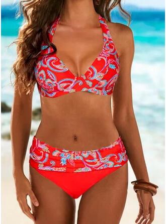 Print Halter V-Neck Plus Size Casual Bikinis Swimsuits