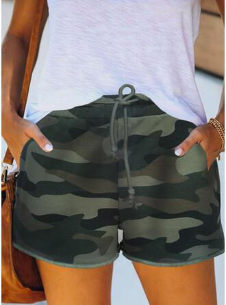 Print Camouflage Above Knee Casual Vacation Pocket Drawstring Pants Shorts