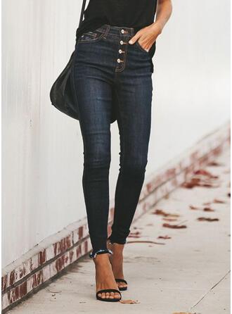 Les poches Froncé Grande taille Tassel Longue Décontractée Sexy Jeans