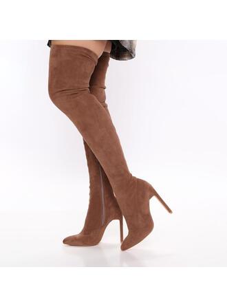 Femmes Suède Talon stiletto Cuissardes Talons Bout pointu avec Zip Couleur unie chaussures