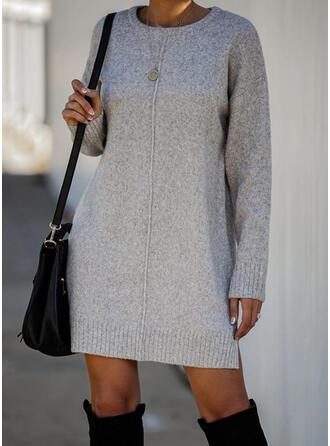 Couleur Unie Manches Longues Droite Au-dessus Du Genou Petites Robes Noires/Décontractée Pull Robes