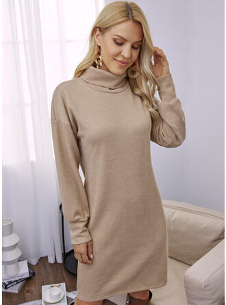 Solid Long Sleeves Dropped Shoulder Shift Above Knee Casual Tunic Dresses