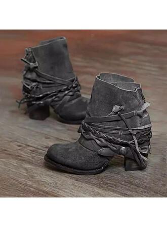 PU Talon bottier Bottines bout rond avec Zip Lanière tressé Couleur unie chaussures