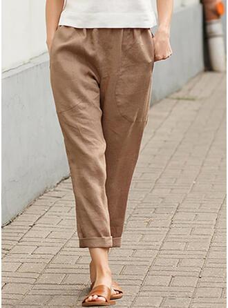 Couleur Unie Les poches Grande taille Décontractée Plaine Pantalon