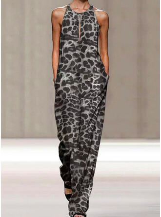 Leopard Round Neck Sleeveless Casual Vacation Jumpsuit