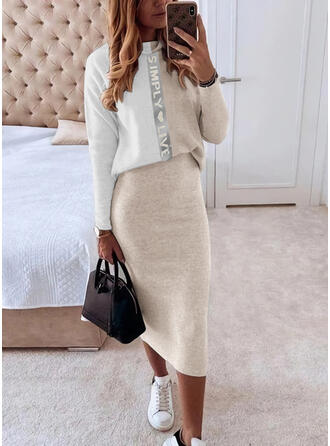 Print/Color Block/Heart/Letter Long Sleeves Bodycon Casual Midi Dresses