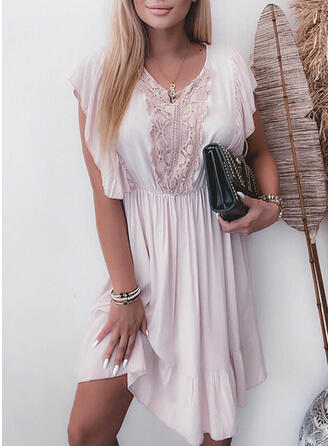 Solid Lace/Chiffon Short Sleeves A-line Knee Length Casual Skater Dresses