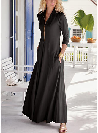 Couleur Unie Manches Longues Trapèze Patineuse Petites Robes Noires/Élégante Maxi Robes