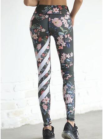 Striped Fleurie Longue Maigre Sportif Yoga leggings