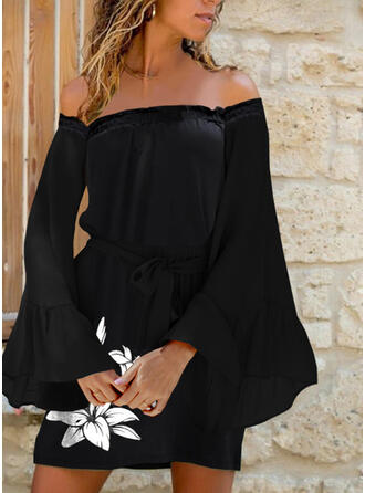 Print/Floral Long Sleeves Flare Sleeve Shift Above Knee Casual/Vacation Tunic Dresses