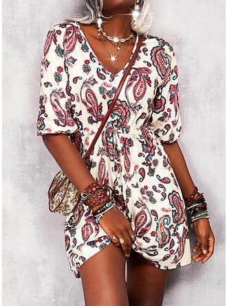 Print Long Sleeves A-line Knee Length Casual/Boho Skater Dresses