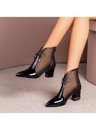 Femmes Similicuir Talon bottier Bout fermé Bottines Bout pointu avec Dentelle Ouvertes chaussures