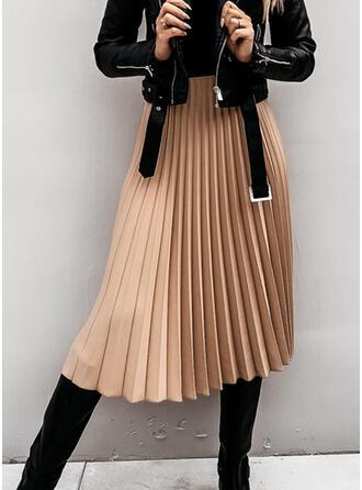 Mélange de coton Couleur unie Mi-Mollet Jupes plissées Jupes trapèze