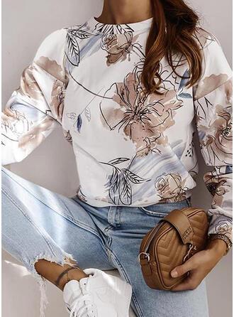 Print Floral Band Collar Long Sleeves Sweatshirt