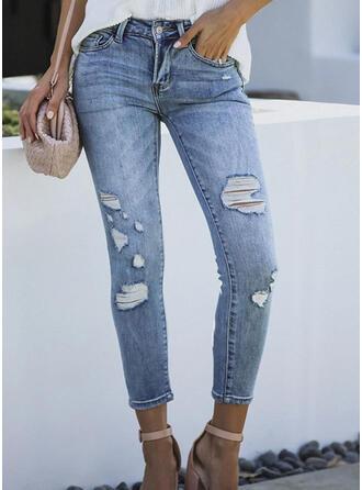 Froncé Déchiré Tondu Élégante Sexy Jeans