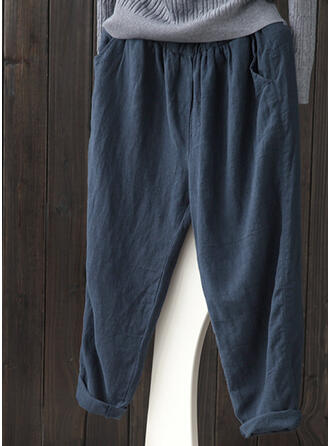 Les poches Froncé Grande taille midi Décontractée Couleur Unie Pantalon