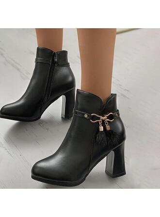 Femmes PU Talon bottier Bottines Talons bout rond avec Boucle Couleur unie chaussures