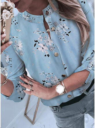 Print Floral Stand collar 3/4 Sleeves Casual Blouses