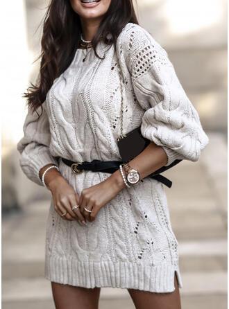 Couleur Unie Manches Longues Fourreau Au-dessus Du Genou Petites Robes Noires/Décontractée Pull Robes