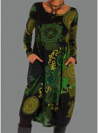 Imprimée Manches Longues Droite Longueur Genou Décontractée Tunique Robes