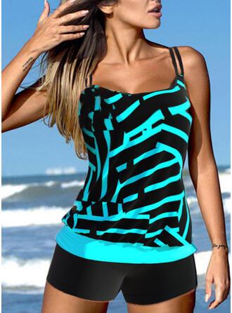 Cross Color Block Strap U-Neck Elegant Plus Size Novelty Tankinis Swimsuits