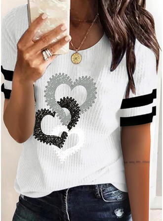 Heart Print Striped Knit Round Neck Short Sleeves T-shirts