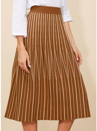 Polyester Striped Mi-Mollet Jupes plissées Jupes évasées Jupes trapèze